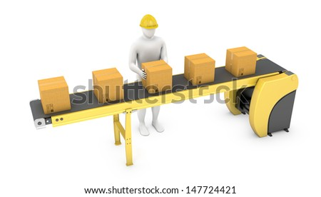 Worker sorts packages on belt conveyor isolated on white background - stock photo