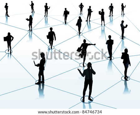 worker standing on a virtual connection, network - stock photo