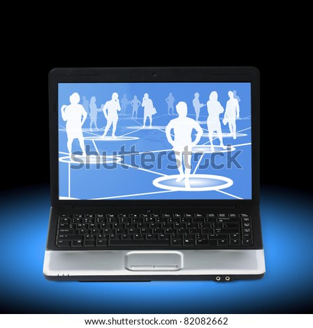 worker standing on a virtual connection, network on a laptop - stock photo