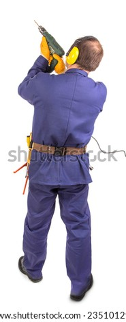 Worker standing with green drill. Isolated on a white background