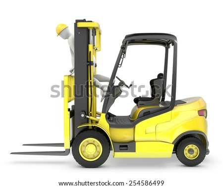 Worker stands on a mast of forklift, violating safety norms, isolated on white background