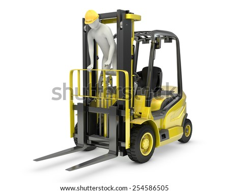 Worker stands on a mast of forklift, violating safety norms, isolated on white background - stock photo