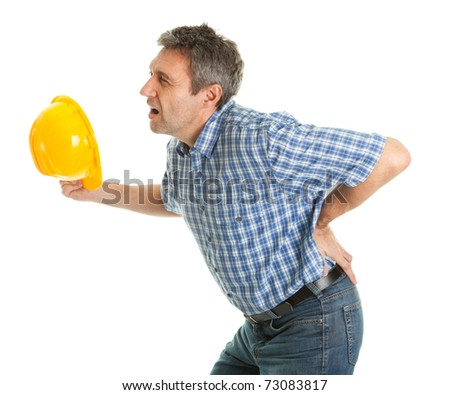 Worker suffering from pain in the back - stock photo