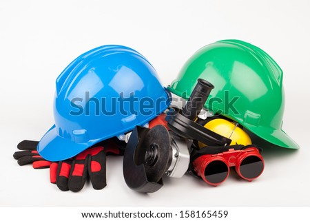 worker tools isolated on white background
