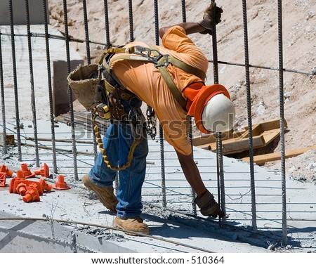 worker tying rebar rebar worker