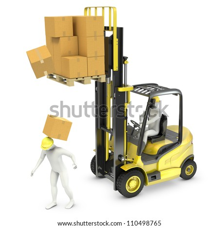 Worker was hit by cardboard falling from lift truck fork, isolated on white background - stock photo