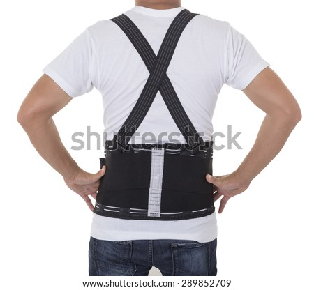 Worker wear back support belts for support and improve back posture. - stock photo