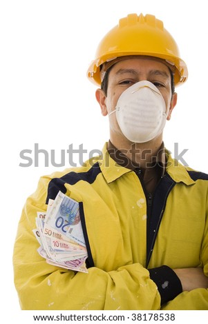 Worker wearing a yellow protective workwear with many banknotes in the pocket - stock photo