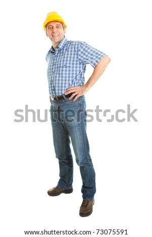 Worker wearing hard hat - stock photo