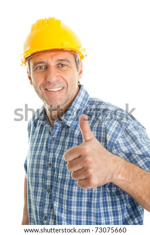Worker wearing hard hat - stock photo