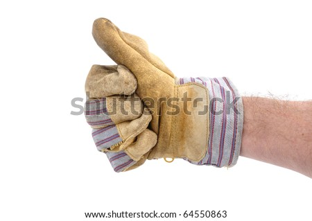 Worker Wearing Leather Work Glove Giving the Thumbs Up Sign - stock photo