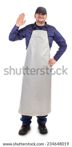 Worker wearing white apron. Isolated on a white background. - stock photo