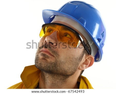worker whit blue helmet over white background