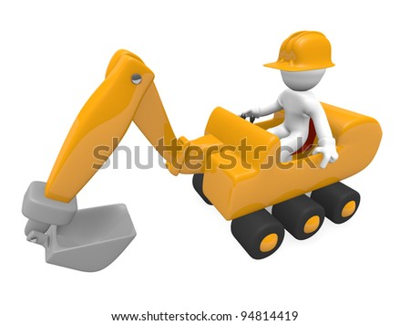 Worker with a digger, 3d image