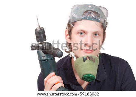 worker with a drill isolated on a white background