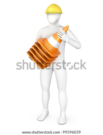 Worker with a stack of road cones, isolated on white - stock photo