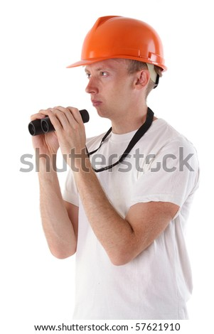 worker with binoculars isolated on white - stock photo