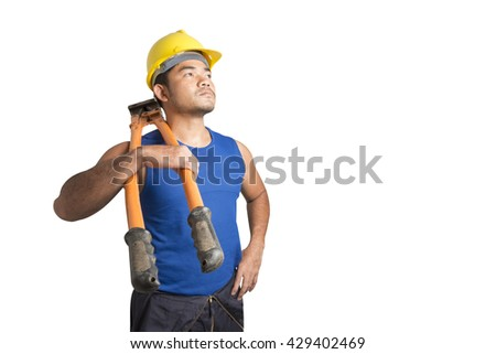 Worker with Bolt Cutting Tool isolated on white background with clipping path - stock photo