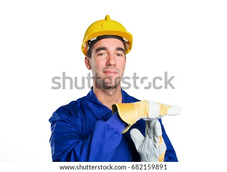 Worker with break time gesture on white background