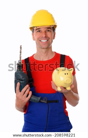 worker with drill and piggy bank - stock photo