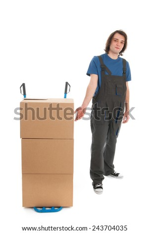 Worker with empty hand truck isolated over white background - stock photo