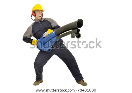 Worker with exhauster isolated in white