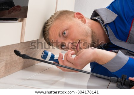 Worker With Flashlight Lying Down On Floor And Spraying Insecticide - stock photo