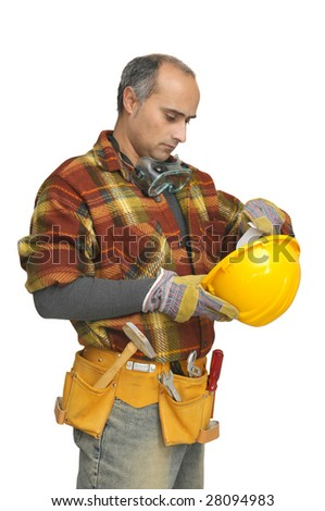 worker with glasses and hat isolated in white - stock photo