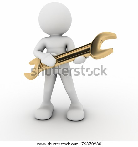 Worker with golden wrench - this is a 3d render illustration