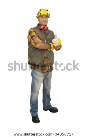 Worker with hat and earphones isolated in white