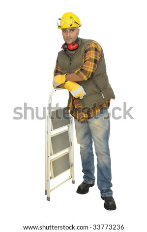 Worker with hat and ladder isolated in white - stock photo