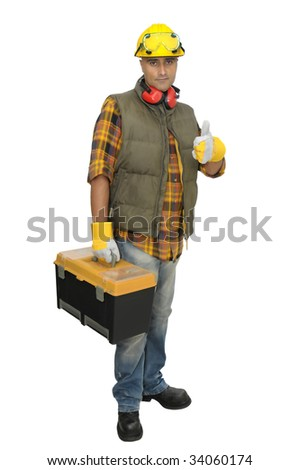 Worker with hat and tool box isolated in white - stock photo