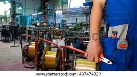 Worker with instruments - stock photo