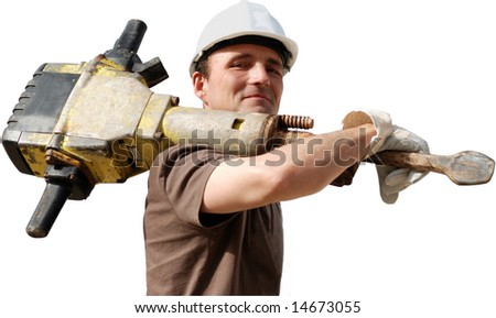 Worker with jackhammer and helmet
