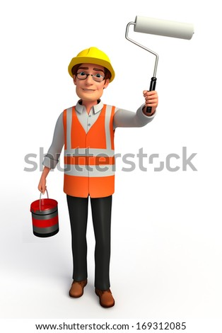 Worker with paint bucket and paint roller - stock photo