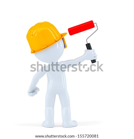 Worker with paint roll painting invisible wall. Isolated over white background - stock photo