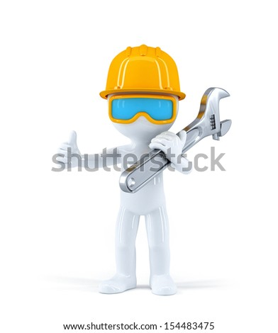 Worker with pipe wrench. Isolated over white background - stock photo