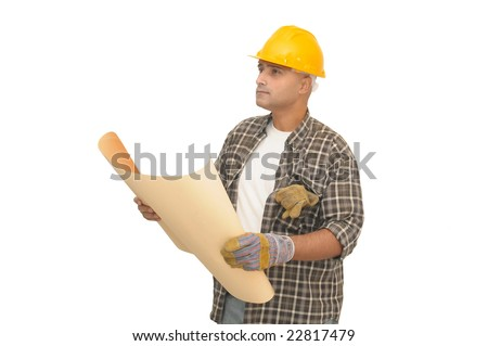 worker with project isolated against a white background - stock photo