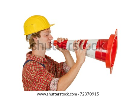 Worker with pylon on white background - stock photo