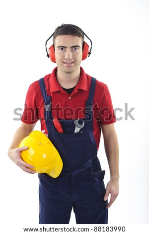 worker with safety equipment isolated on white background - stock photo