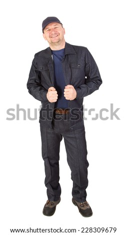 Worker with smile. Isolated on a white background. - stock photo