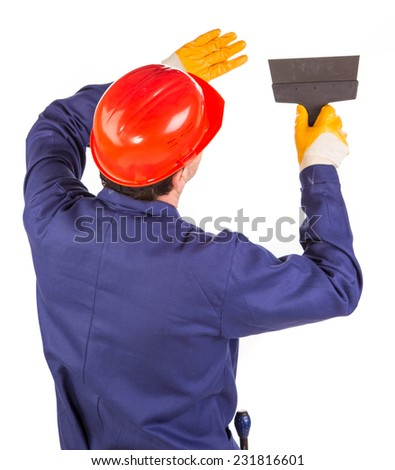 Worker with spatula. Isolated on a white background. - stock photo