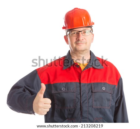 Worker with thumb up. Isolated on a white background.