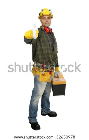 Worker with tool box  isolated in white