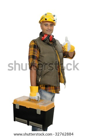 Worker with tool box  isolated in white - stock photo