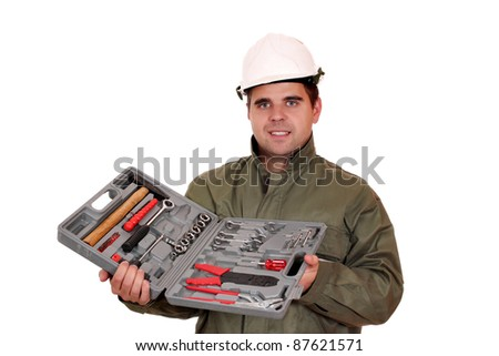 worker with toolbox - stock photo