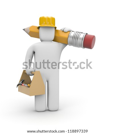 Worker with toolbox and pencil - stock photo