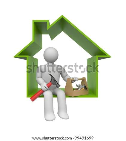 Worker with tools. DIY metaphor - stock photo