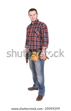 worker with tools . over white background - stock photo