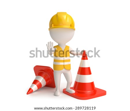 Worker with traffic-cones - stock photo